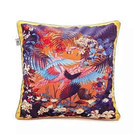 Lovely Mandarin Ducks Playing in Water Paint Throw Pillow