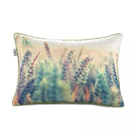 Cyan Wheat Stalks Paint Throw Pillow