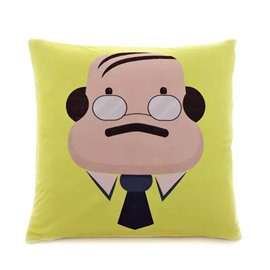 Cartoon Funny Man with Minimal Hair Paint Throw Pillow Case