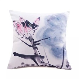 Chinese Wash Lotus Paint Throw Pillow Case