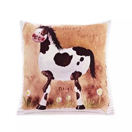 Cartoon Cow Paint Throw Pillow Case