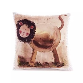 Cartoon Lion Paint Throw Pillow Case