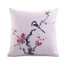 A Sparrow Standing on Prune Tree Paint Throw Pillow Case