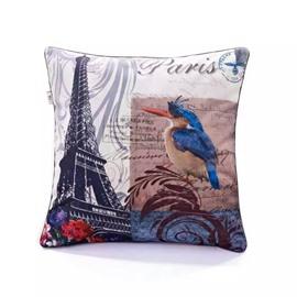 Eiffel Tower and Blue Bird Paint Throw Pillow Case
