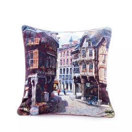 Trendy Italian Streetscape Paint Throw Pillow Case