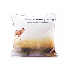 A Deer Walking on the Ground Paint Throw Pillow Case