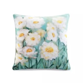 Hight Quality White Chrysanthemums Paint Throw Pillow Case