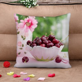 Lifelike Flowers and Cherry Fresh Style Cotton Throw Pillow Case