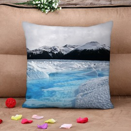 Glacier Natural Scenery Soft Cotton Throw Pillow Case