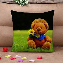 Fresh Cute Teddy Bear on The Grass Cotton Throw Pillow Case
