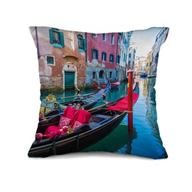 Fancy Romantic Venice Print Throw Pillow Case