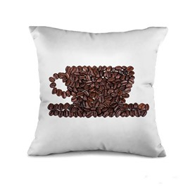 Unique Coffee Bean Cup Design Throw Pillow Case