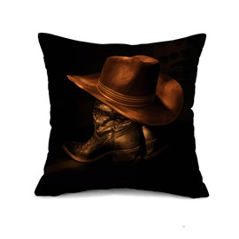 Unique Retro Hat and Leather Boots Print Throw Pillow Case