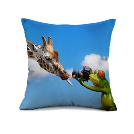 Cute Giraffe and Frog Photographer Print Throw Pillow Case