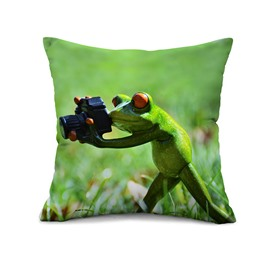 Fresh Style 3d Cute Frog Photographer Design Throw Pillow Case