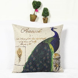 Elegant Vivid Peacock Reactive Printing Square Throw Pillow Case