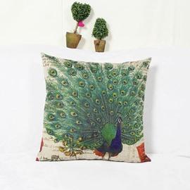 Noble Oriental Peacock Print Square Throw Pillow Case
