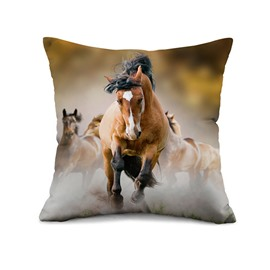 Brown Horse Reactive Printing Throw Pillow Case