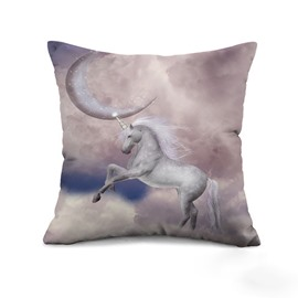 Magic Night Moon Beautiful White Unicorn Print Throw Pillow Case