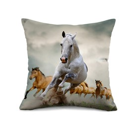 Vivid Running Horse Print Throw Pillow Case