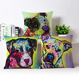 Contemporary Art Dog Print Cotton Throw Pillow Case