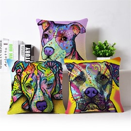 Creative Colorful Dog Print Cotton Throw Pillow Case