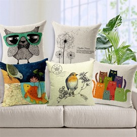Fancy Cartoon Birds Print Throw Pillow Case