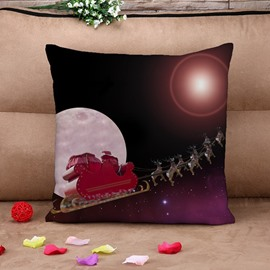 Splendid Santa on Sleigh Print Throw Pillow Case