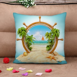Chic Design Beach Scenery Print Throw Pillow Case