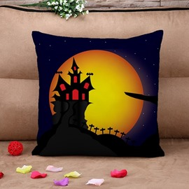 Unique Halloween Castle Print Throw Pillow Case