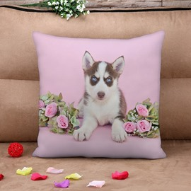 Lovely Puppy and Pink Flower Print Throw Pillow Case