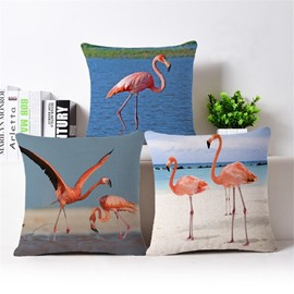 Charming Pink Flamingo by the Sea Print Throw Pillow Case