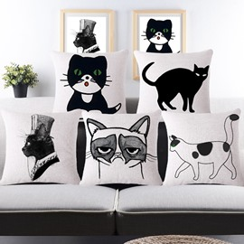 Simple Design Sexy Kitty/Cat Print Throw Pillow Case