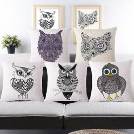 Vintage Style Unique Owl Print Throw Pillow Case