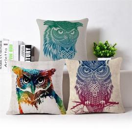 Luxuriant Owl Print Square Throw Pillow Case