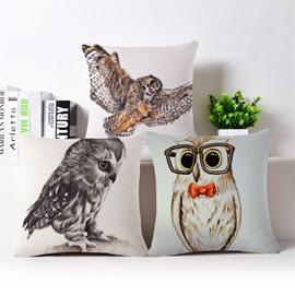 Wonderful Owl Reactive Printing Throw Pillow Case