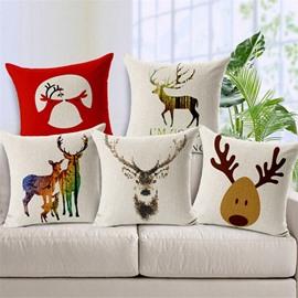Comfortable Lovely Reindeer Print Throw Pillow Case