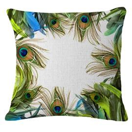 Elegant Peacock Feather Design Throw Pillow Case
