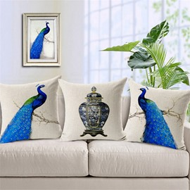 Noble Peacock Print Square Throw Pillow Case