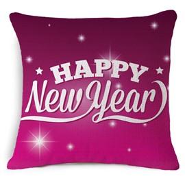 Happy New Year Print Burgundy Throw Pillow Case