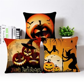 Unique Halloween Pumpkin Print Cotton Throw Pillow Case