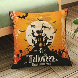 Mysterious Halloween Castle Print Square Throw Pillow Case