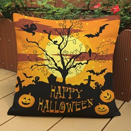 Chic Happy Halloween Print Throw Pillow Case