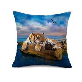 Lifelike Tiger and Blue Ocean Print Throw Pillow Case