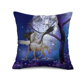 Stunning White Unicorn with Wings Print Throw Pillow Case
