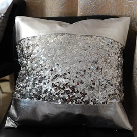 Attractive Silvery Sequin PU Leather Material Decorative Throw Pillowcase