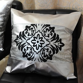 Noble Damask Sequin Pattern PU Leather Throw Pillow Case