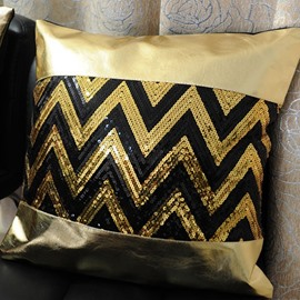 Beautiful Golden Chevron Sequin Pattern Decorative Throw Pillow Case