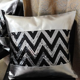 Charming Silvery Chevron Sequin Pattern Decorative Throw Pillow Case