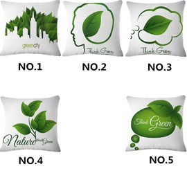 Emerald Green Leaves and Creative Thinking Pattern White Linen Throw Pillowcases